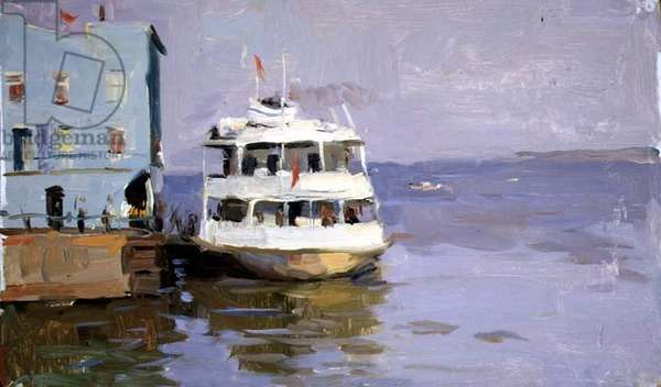 Boats on the Volga (oil on canvas)