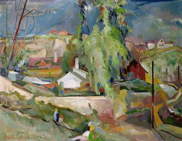 A Village in Czechoslovakia (oil on canvas)
