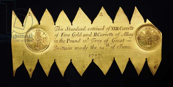 Gold trial plate, 1707 (gold)