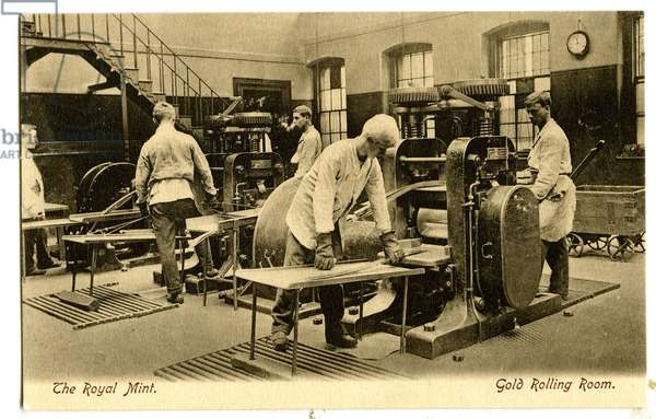 Gold Rolling Room, The Royal Mint, c.1900-20 (litho)