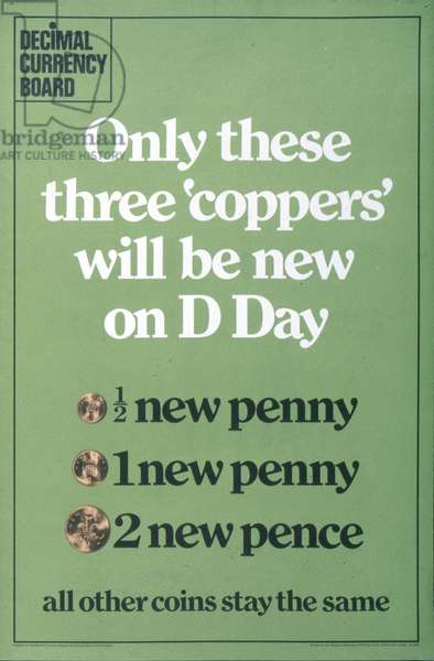 Decimalisation poster, issued by the Decimal Currency Board, c.1971 (colour litho)