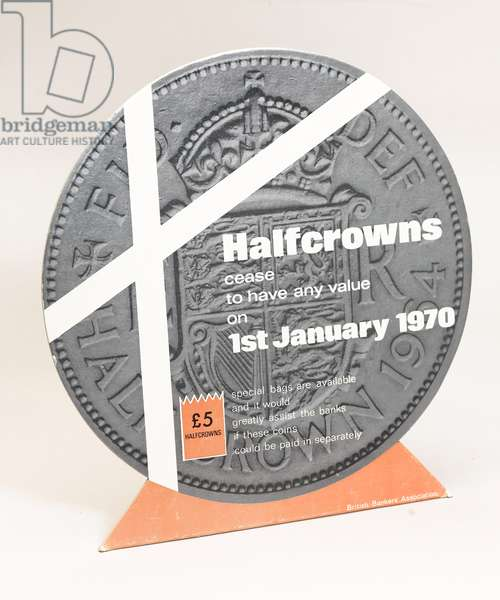 Decimalisation counter stand, issued by the British Bankers' Association, c.1969 (cardboard)