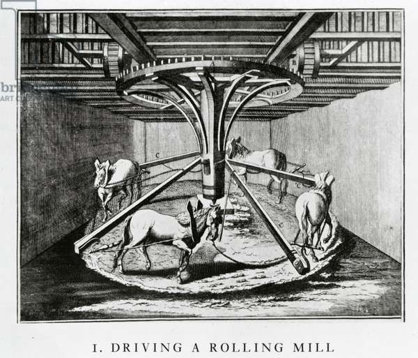 Horses driving a rolling mill, from the Encyclopédie by Denis Diderot and Jean le Rond d'Alembert, 1771 (engraving)