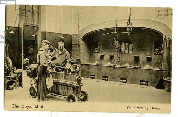 Gold Melting House, The Royal Mint, c.1900-20 (litho)
