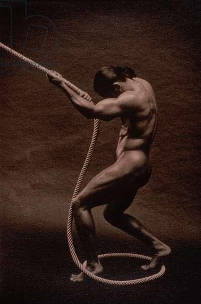 Nude Man Pulling Rope
