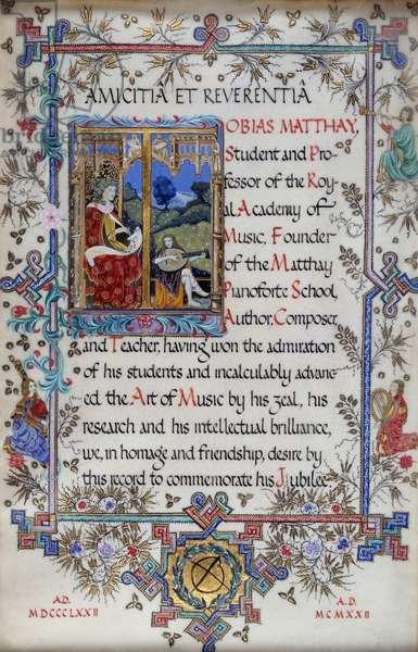 Tobias Matthay testimonial, 1922.