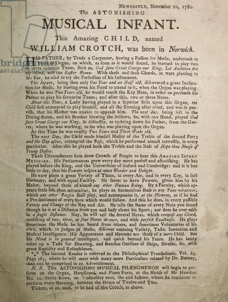 Handbill: William Crotch, 1780.