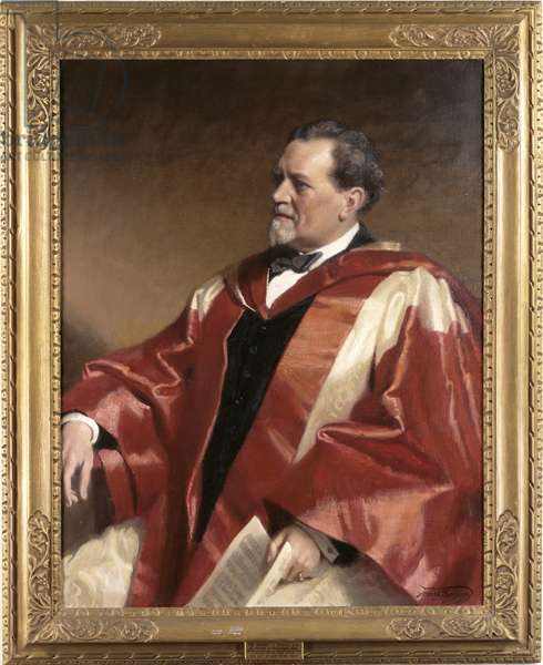Portrait of Sir Henry J Wood in academic robes with score, 1943