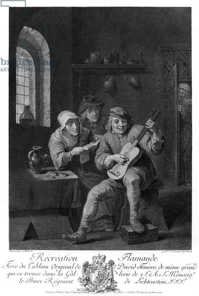'Récréation Flamande' with guitarist, 17 th century