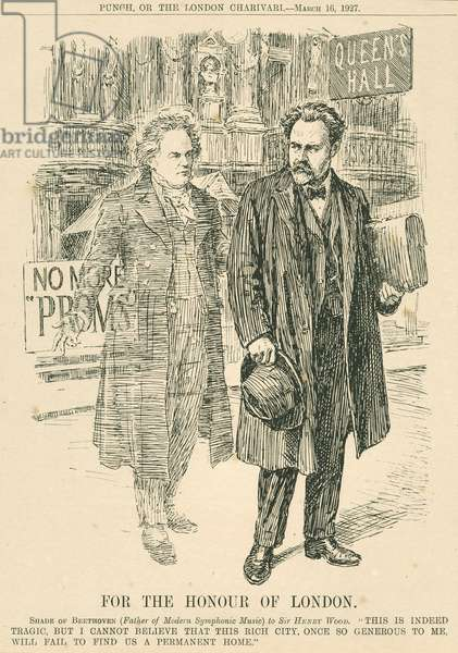 Henry Wood and the ghost of Beethoven in front of the Queen's Hall, engraving from Punch or The London Charivari, March 16, 1927