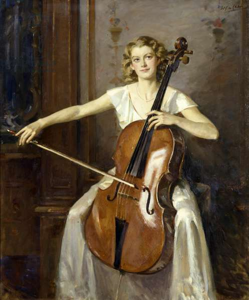 Portrait of Florence Hooton playing the cello.  By Wilfred de Glehn