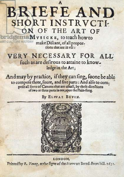 Art of Musicke, by Elway Bevin 1631.