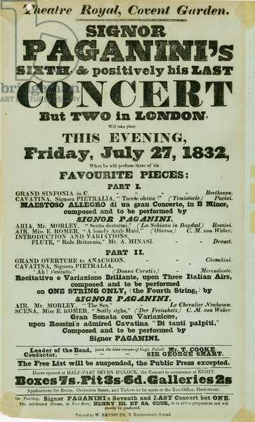 Niccolo Paganini - playbill