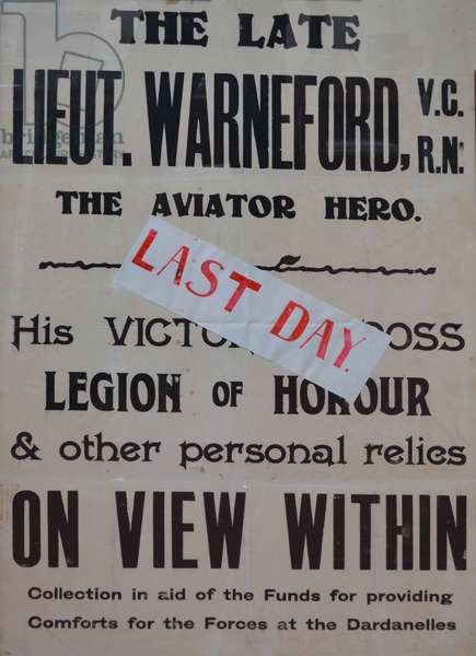 Poster for a fundraising exhibition of Lieutenant Warneford, 1915-18 (litho)