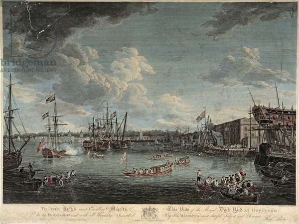 View of the Royal Dock Yard at Deptford, engraved by William Woollett, published 1st July 1793 (coloured etching)