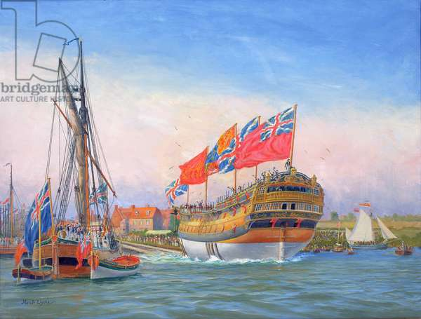 Launch of HMS Agamemnon, Bucklers Hard, 10th April 1781 (oil on canvas)