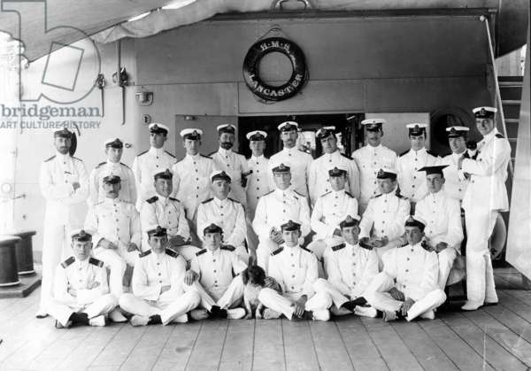 Officers from HMS Lancaster (b/w photo)