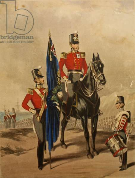The Royal Marines showing a Field Officer and 2nd Lieutenant, 1850 (colour litho)