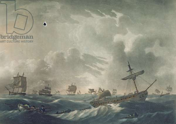 The Ramillies Waterlogg'd, with her Admiral and Crew quitting the Wreck, engraved by Francis Jukes (1745-1812) published in 1795 (aquatint)