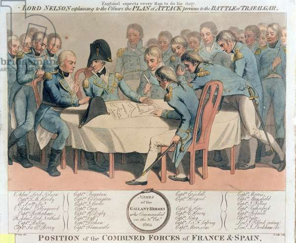 England expects every man to do his duty. Lord Nelson explaining to the officers the plan of attack previous to the Battle of Trafalgar, engraved by James Godby, published by Edward Orme, 9th January 1806 (coloured engraving)
