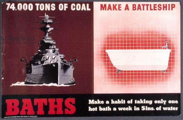 74,000 Tons of Coal Make a Battleship, 1940 (colour litho)