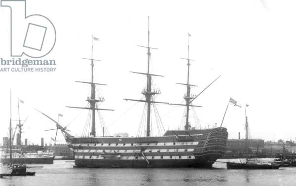 HMS Victory in Portsmouth Harbour, 1890s (b/w photo)