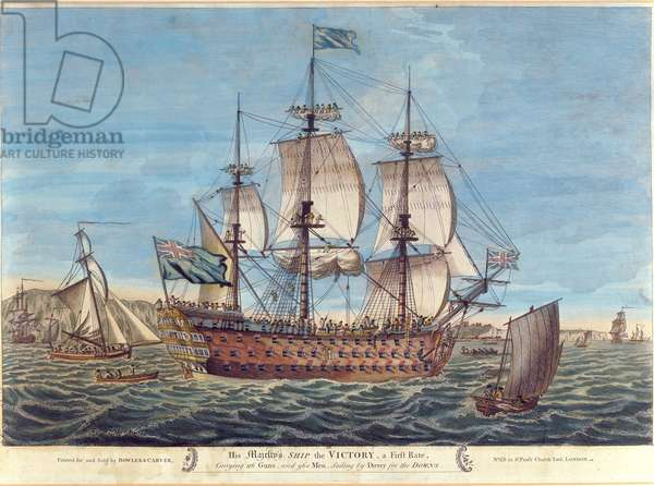 His Majesty's Ship, the Victory (coloured engraving)