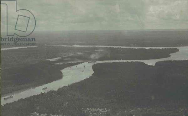 SMS Konigsberg trapped in the Rufiji Delta, 1914 (b/w photo)