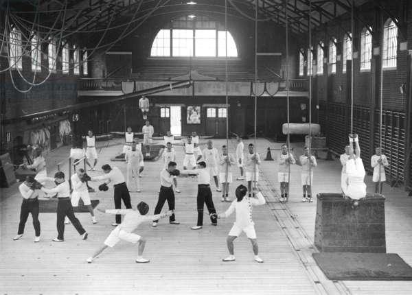 Gymnasium at the Royal Naval Barracks, Portsmouth, c.1933 (b/w photo)