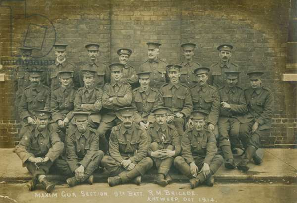 Machine Gun Section of the 9th Royal Marines Battalion, Royal Marines Brigade, Antwerp, Belgium, October 1914 (b/w photo)