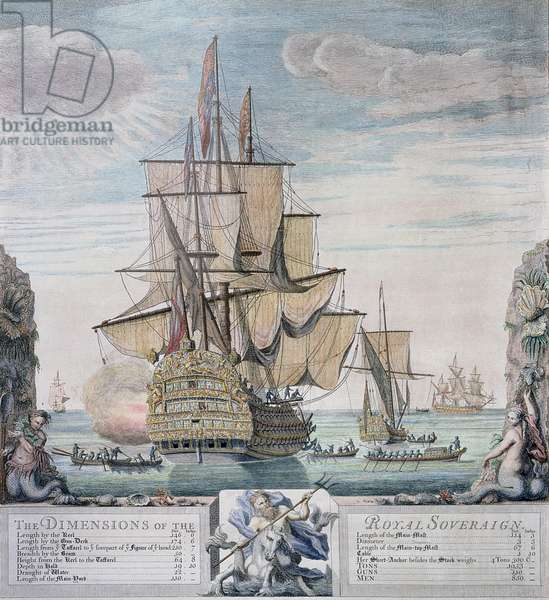 The Dimensions of the Royal Sovereign, engraved by Claude du Bose, c.1721 (coloured etching)