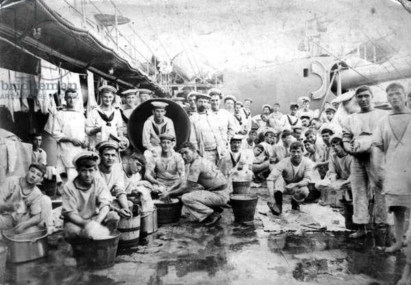 Dhobi Day on HMS Minotaur, c.1910 (b/w photo)