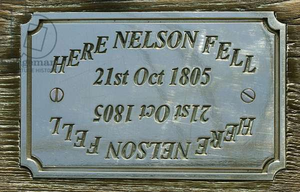 The plaque on HMS Victory marking the spot where Admiral Nelson fell after being shot during the Battle of Trafalgar in 1805, 2013 (photo)