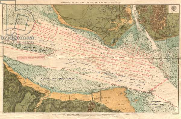 Position of the Fleet at Spithead on the 24th June, 1911 (colour litho)