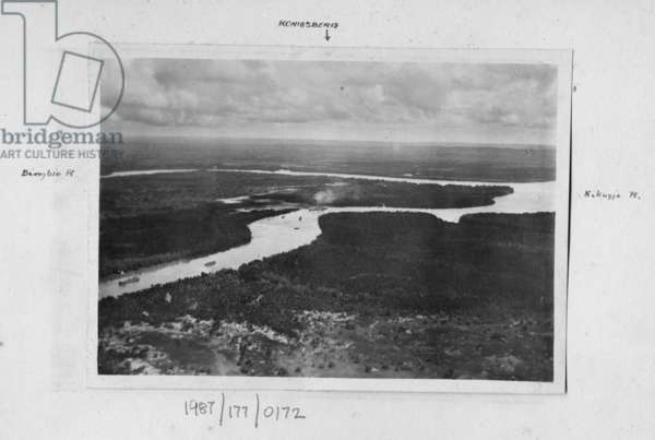 The Rufiji River delta with the Koenigsberg in the centre, 1915 (b/w photo)