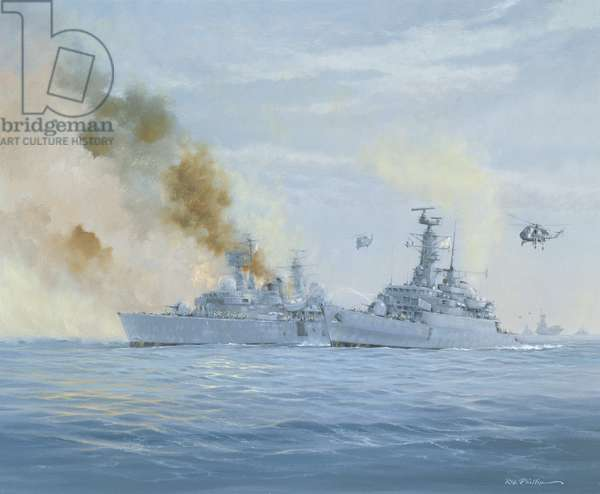 HMS Sheffield on fire, Falklands Islands Campaign (oil on canvas)