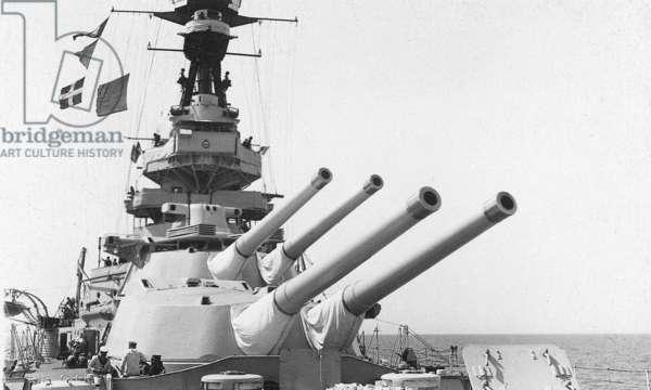 Guns of HMS Royal Oak (b/w photo)