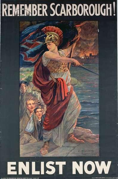 'Remember Scarborough. Enlist Now', WWI poster, 1914 (colour litho)