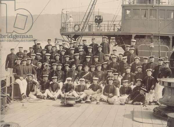 Royal Marine detachment aboard the cruiser HMS Diadem, probably on the China Station, c.1910 (b/w photo)
