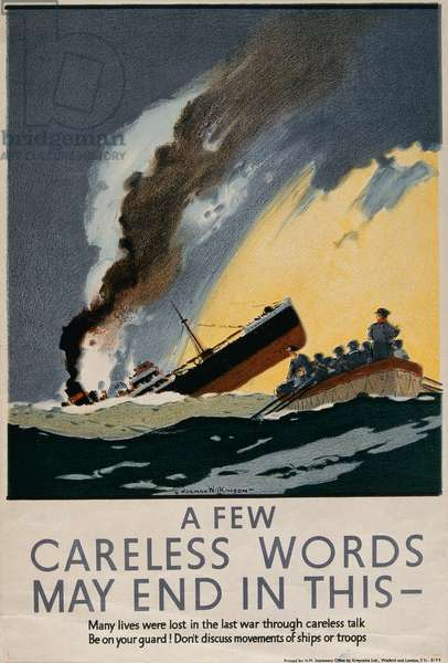 'A Few Careless Words May End in This', WWII poster, c.1941 (colour litho)