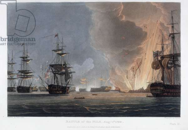 Battle of the Nile, August 1798 (coloured engraving)