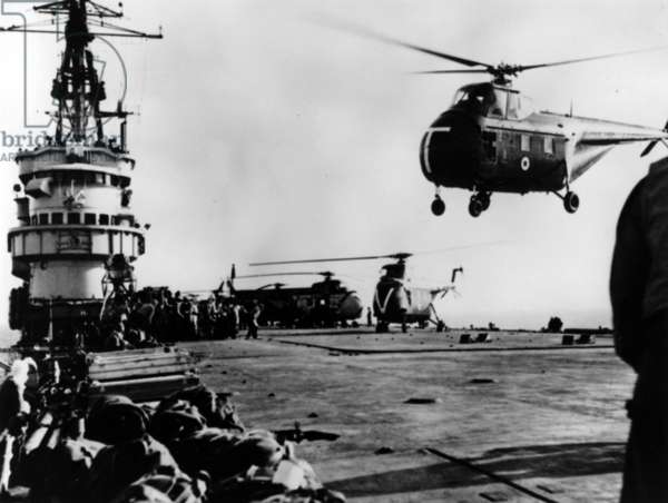 HMS Theseus, during the Suez Crisis (b/w photo)