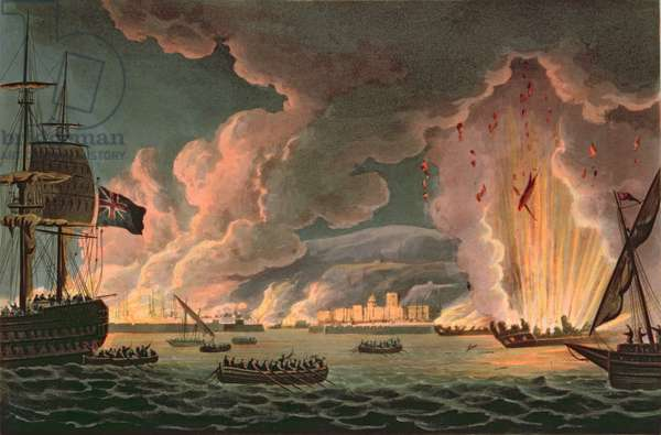 Destruction of the French Fleet at Toulon, 18th December 1793, engraved by Thomas Sutherland (b.1785) published in 1816 (coloured engraving) (see also 97232)