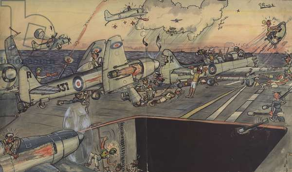 'Situation Normal', flight deck of the Aircraft Carrier HMS Glory, Korea 1951-1952 (pen & ink with w/c on paper)