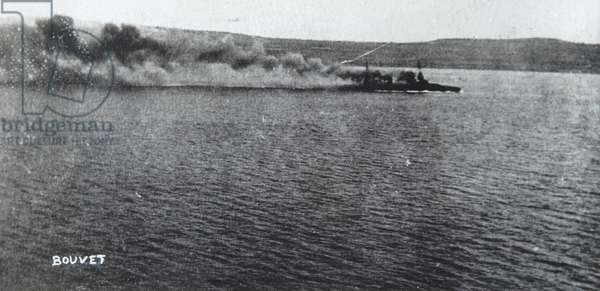 Bouvet starting to sink, 18 March 1915 (b/w photo)