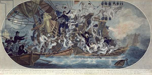 The boarding and capturing of His Majesty's late ship, Hermione (now Retribution) 25th October 1799, engraved by Roffe (coloured etching)