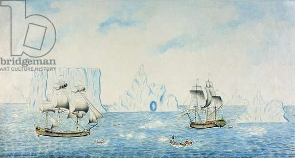 Boats Collecting Ice, c.1773 (w/c on paper)