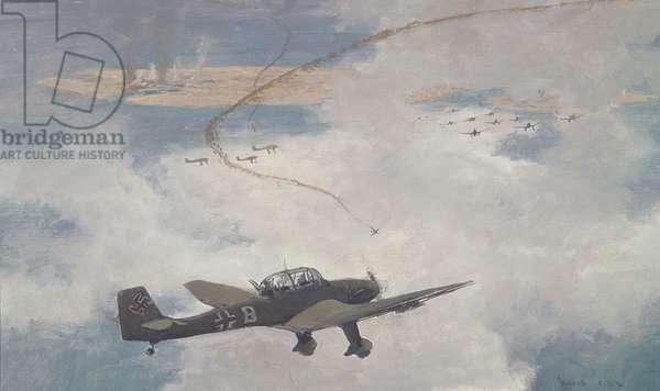 Malta Under Air Attack (oil on canvas)