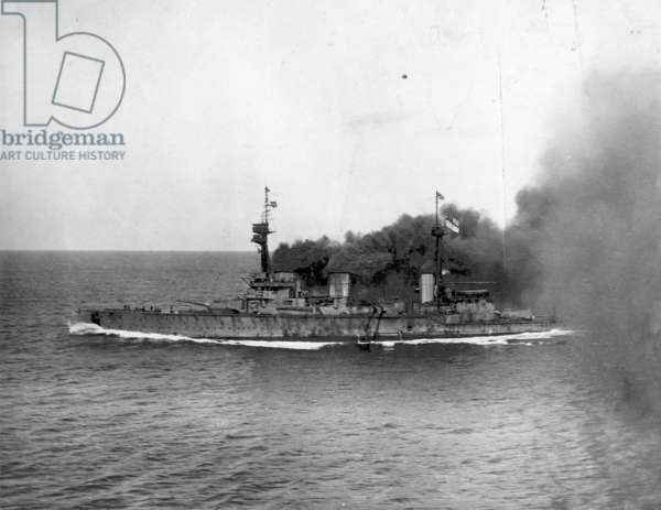 HMS Incinvible, 8th December 1914 (b/w photo)