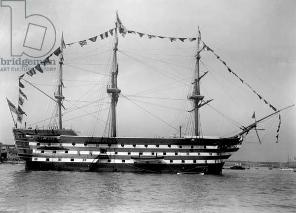 HMS Victory Dressed Overall, 1890s (b/w photo)